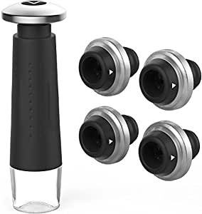 Vremi Wine Preserver and Vacuum Stopper Set - Includes 4 Wine Stoppers and 1 Wine Pump - Wine Preservation Kit for Bottles of Opened Wine - Wine Preserving Pump and Leak Proof Airtight Seal Stopper