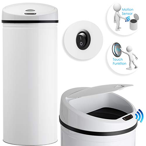 Kesser Sensor Mülleimer ✓ Automatik ✓ Abfalleimer ✓ Abfall | Edelstahl | Farbe: WEIß | Größe: 56 L