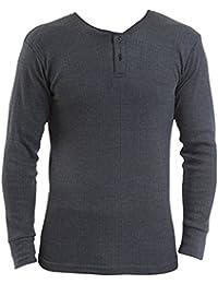 Mens Thermal Underwear - Long Sleeved Vest 'Grandad Style' - White/Denim