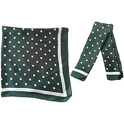 Cisne 2013, S.L. Pañuelo Bordado Fular de Seda para Mujer tamaño 70x70cm diseño Lunares Color Verde. Foulard Silk Bufanda Invierno Mujer Diseño Lunares Verdes.
