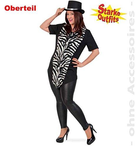 narrenwelt Zebra Big Stripes mit Plüsch 50 1tlg Damen Longshirt Big Shirt Fasching Zebra-Kostüm für Starke Frauen große Groessen (Zebra Kostüme Für Frauen)