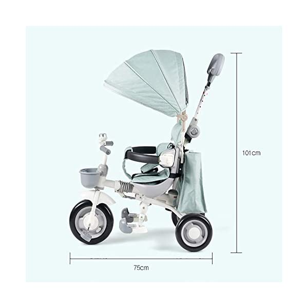 Sunzy Baby hand push tricycle, lightweight folding portable children's tricycle, suitable for children aged 1-4  The entire frame is painted with a paint to effectively prevent the frame from colliding and rusting. High-performance space wheel, SUV-level shock protection, suitable for all kinds of road surfaces, no inflation, no deformation. Linen awning, effectively blocking UV, breathable sunshade 6