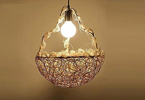 LighSCH Lustres Le style américain un cadre idyllique petit bois en osier panier de bambou 30*40cm