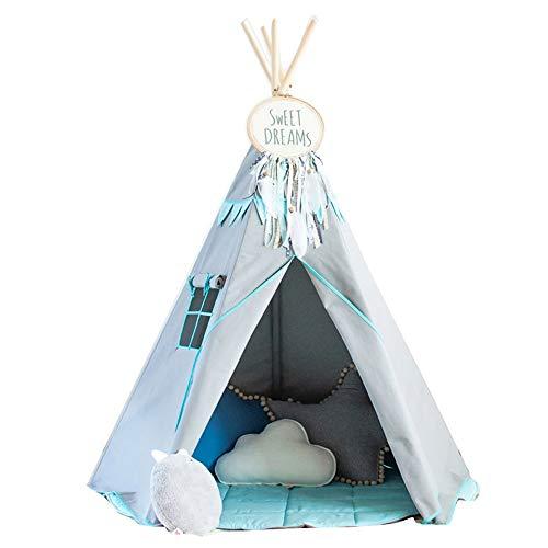 Tipi Play Tent Tienda de campaña para niños para interiores y exteriores diseño de bola de pompón b 100 lonas naturales tienda de campaña india