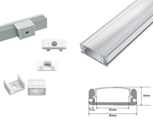 Energmix LED Profil Schiene Aluminium Deckenanbringung mit Transparent Abdeckung Profil A