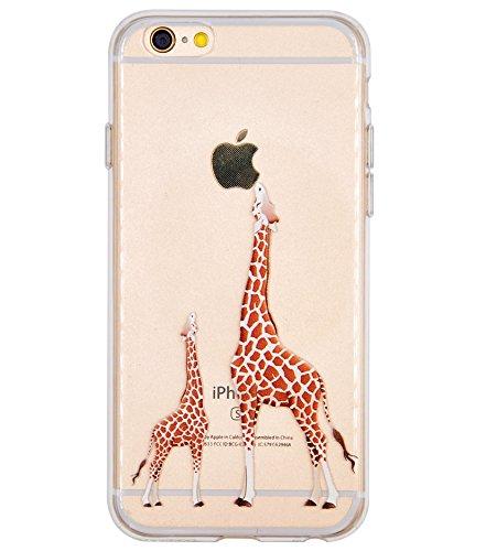 Cover iPhone 7, Cover iPhone 8, OFFLY Morbida Silicone Trasparénte Sottile (TPU) Protettiva Custodia, Creativo Stampa Protezione Cover Case per Apple iPhone 7 / 8 - Foglie Tropicali Giraffa(2)