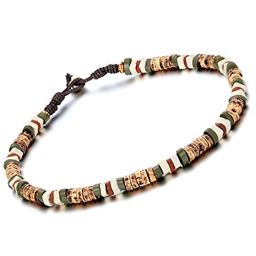 flongo-mens-womens-tribal-ceramic-beads-rope-necklace-18-inch-chain