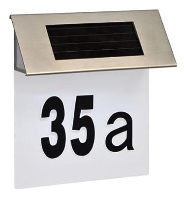 Design Solar LED Hausnummer Edelstahl Hausnummern #249 von Haushalt International auf Lampenhans.de