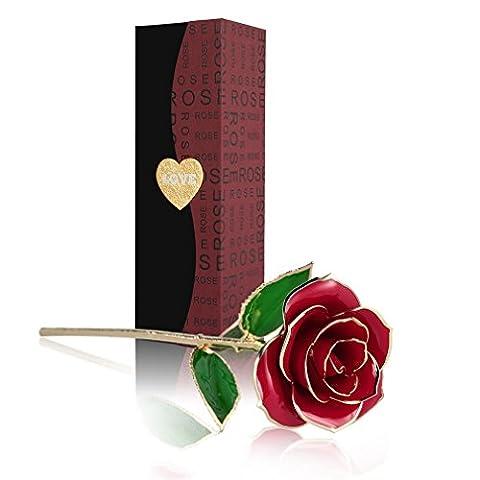 U-Kiss 24K Plaqué or Rose Eternelle élégants Jolies Romantique Fleur,