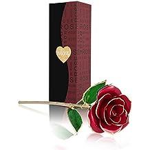 U-Kiss Love Forever Langer Stiel Gold Folie 24K Gold Trim Rot Rose Blume für Mädchen Frauen Weihnachten Valentinstag Muttertag Persönlicher Jahrestag Geburtstag Geschenk 1Stück-Rot