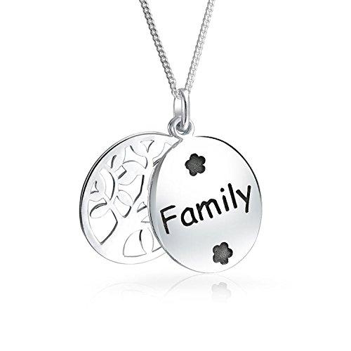 Reversible Disc (Baum des Lebens zwei Disc Familie Anhänger Sterling Silber Halskette 18 Zoll)