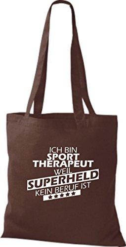 Shirtstown Stoffbeutel Ich bin Sporttherapeut, weil Superheld kein Beruf ist braun