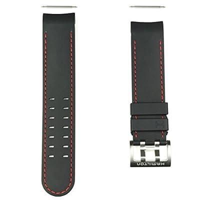 Correa caucho negro pespunte rojo reloj Hamilton Khaki Navy X-Wind Auto H600.776.117