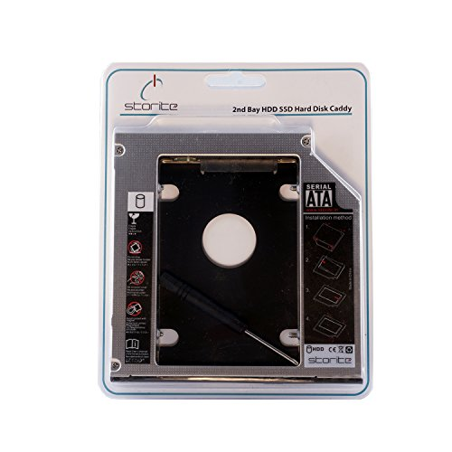 Storite SATA 2nd 2.5\'\' Hard Drive Caddy for 12.7mm Universal CD/DVD-ROM - Expand your data storage on your Laptop with HDD/SSD