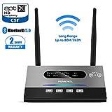 PEMENOL - Transmisor y Receptor Bluetooth 5.0 de 80 m, Adaptador 3 en 1, Antena Doble NFC, aptX HD, bajo retraso, Cable RCA, 3,5 mm AUX, Toslink óptico para el hogar, TV, Coche, portátil, PC