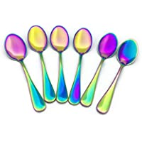Renohef Cucharas de café Rainbow,Cuchara plateada colorida del titanio del acero inoxidable, conjunto de la cuchara del té, cuchara del helado, Cucharada colorida de la cucharilla del postre de la cucharada de la fruta de la cuchara de los cubiertos, conjunto de 6 (Apuntado)