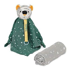 Sterntaler Kuschelzoo-Mantita de Seguridad para bebé con Peluche de Tigre, Color Verde y Gris, Multicolor (3251954)