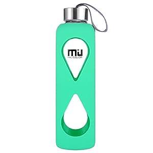 MIU COLOR® 550ml Glasflasche trinkflasche mit Silikonhülle BPA-frei (Hellgrün)