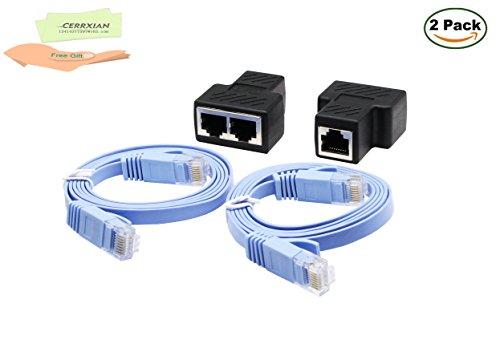 cerrxian Neue RJ45Splitter Adapter, Ethernet Kabel Splitter CAT5, CAT5e, CAT6, CAT7, RJ45Netzwerk Verlängerung Stecker Ethernet Cable Sharing Kit mit 2PCS CAT6Kabel für Router TV Box Kamera PC L (1