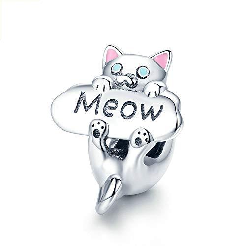 Reiko Meow Gato Plata de Ley 925 Charms Bricolaje Collar Colgante Collares Pulseras para Charms Abalorios para Mujer,Regalo para Niña,Caja de Regalo,Cinco Centavos Gratis