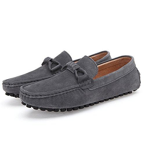New Mens Suede Loafers Herren Casual Leder Schuhe Grau
