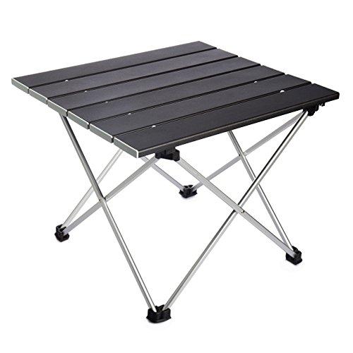 Overmont Aluminium Tragbar Klapptisch Campingtisch für Camping Garten Wandern Picknick Reisen Angeln Mehrfarbig M/ L mit Aufbewahrungstasche