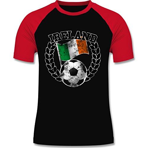 EM 2016 - Frankreich - Ireland Flagge & Fußball Vintage - zweifarbiges Baseballshirt für Männer Schwarz/Rot