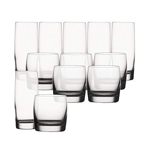 Spiegelau & Nachtmann, 12-teiliges Becher-Set, 6x Longdrinkglas, 6x Whiskyglas, Kristallglas, 413 und 315 ml, Soiree, 4070296
