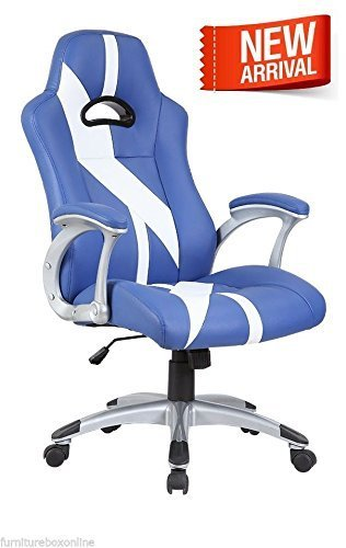 Top New LUXURY Leather SPORTS/RACING Office Desk Swivel Gaming Computer Chair (Blue/White Stripes) on Line