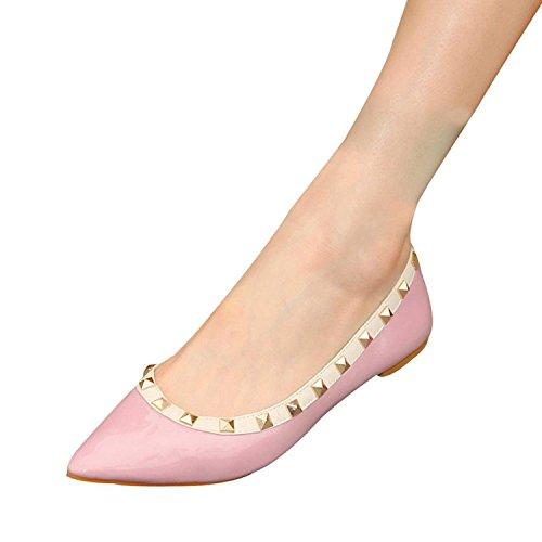 Minetom Damen Frauen Sommer Frühling Flach Casual Pumps Ballerinas Schuhe Pink