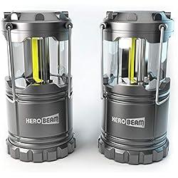 2 x HeroBeam® LED Laterne – 2018 COB Technologie mit 300 LUMEN! – Zusammenklappbare Campinglampe – Großartig bei Camping, im Auto, Schuppen, Dachboden, Garage & Stromausfällen (TWIN PACK)