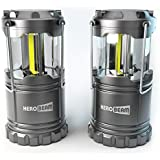 HeroBeam 2 x LED Lantern - THE ORIGINAL Collapsible Tough Lamp with Magnetic Base - Batteries Included - Great Light for Camping, Fishing, Shed, Festivals - UK COMPANY & 5 YEAR WARRANTY