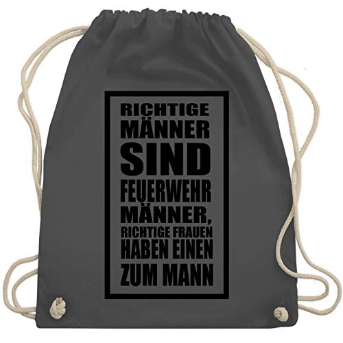 Männlichen Stolz T-shirt (Feuerwehr - Richtige Männer Feuerwehr - Unisize - Dunkelgrau - WM110 - Turnbeutel & Gym Bag)