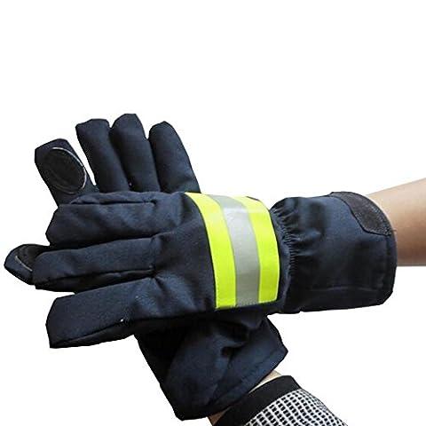 Babimax Gants du Pompier de Protection Chauffer en Cuir Isolation Incendie Termique Gant Protecteur Gant de Feu Equipement Au Feu Gants de Travail Réfléchissant Sangle
