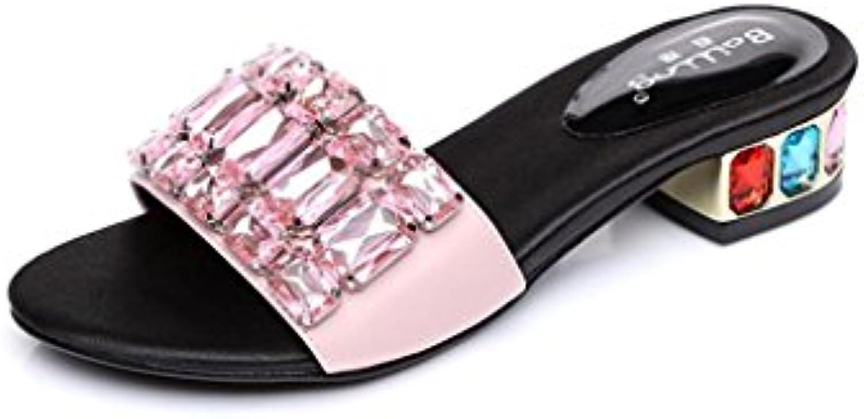 BaiLing Pantofole Pantofole Pantofole estive delle donne Mid Heel Open toe Rhinestones scarpe sandali femminili di piccole dimensioni... | Più pratico  fbb2ac
