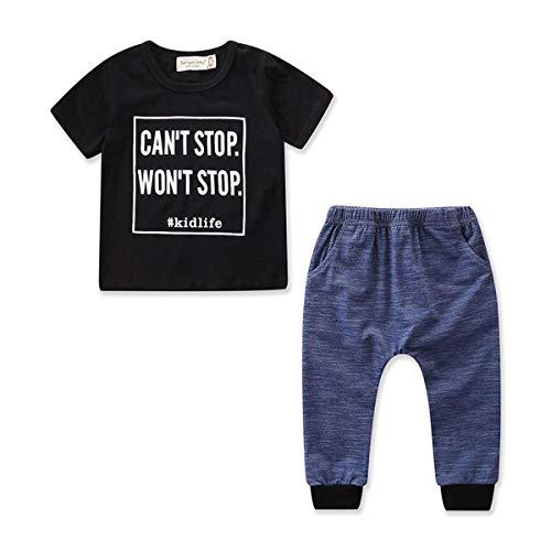 Neugeborene Kinder Jungen Kind Kleidung Zweiteilige Baby Freizeitkleidung Outfit Alphabet Print T-Shirt Top Hosen Baby Body Baumwolle Sommer Set 2 - Alphabet Kostüme Ideen