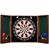 Cerasus Exclusive Wooden Dart Board With Premium High Gloss British Walnut Colored Cabinet With Classy Darts Ideal For Home Wall Decor Party Game