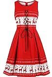 MisShow Damen 80er Jahre Kleidung Damen Rot Weihnachten Kleider Rockabilly Kleider Vintage Retro Kleider Knielang Rot S