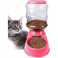 PanpA Sostenible Pet Puppy Automatic Bowl Cat Dispenser Feeder Food Barrel-Pink