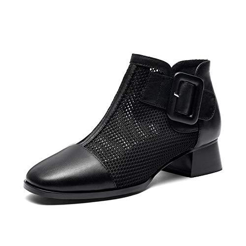 MENGLTX FMode Leder Chunky Heels Sommer Stiefel Frauen Schuhe Frau echtes Leder Air Mesh Ankle Boots Frau 6,5 Schwarz - Schwarze Leder-boot-frau