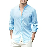 Beotyshow Mens Casual Button Down Shirts Summer Linen Beach Fishing Tees Shirt Stand Collar Plain Long Sleeve Vintage Blouses Golf Henley Shirts for Men for Dad Blue