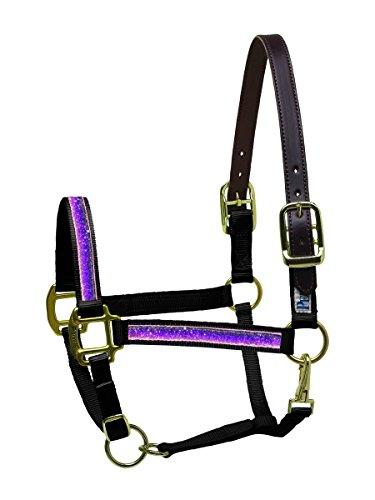 Ribbon Pony-halter (Perri 's Schleifenband mit Glitzereffekt Nylon Sicherheit Halfter Pony schwarz/lila Schleifenband mit Glitzereffekt Halfter, schwarz violett)