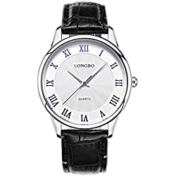 LONGBO Ultra - thin waterproof spring female watch men 's watch couple watches leather strap 80251