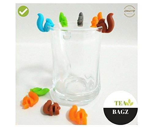 Tea-bagz, set di accessori per la casa e la cucina composto da 5 porta bustine del tè a forma di scoiattoli colorati, piccoli e divertenti, completamente in silicone, di alta qualità