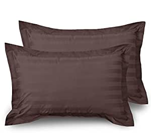 HUESLAND by Ahmedabad Cotton Luxurious Striped 2 Piece Cotton Pillow Case Cover Set - 18 inch x 27 inch