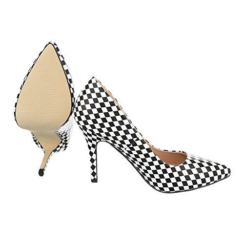 Ital-Design , chaussures compensées femme blanc/noir