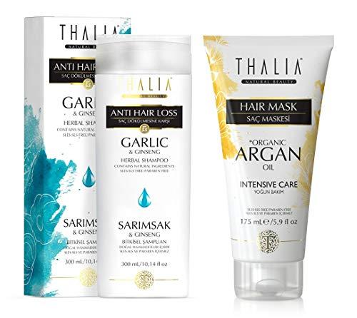 Thalia Geschenk/Spar-Set Haarpflege Thalia Shampoo Knoblauch & Ginseng gegen Haarausfall 300 ml dazu Thalia Haarmaske/-kur mit Bio-Arganöl & Macadamia-Butter 175 ml (Knoblauch-matte)
