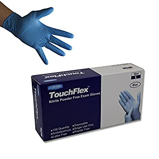 Touchflex Blue Nitrile Powder Free Disposable Gloves - Latex Free - Boxed x100 (Large)