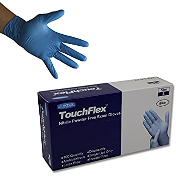 Powder-free Gloves Large Box of 100 Nutouch Disposable Blue Nitrile AQL 1.5