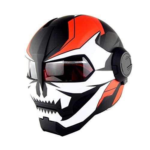 MENUDOWN Motorrad Helme,Motorrad Integralhelm Iron Man Full Face Touring Motorrad Helm Flip Up Ironman Schädel Flip up Roboter DOT Zustimmung, Matte 1-M(57~58cm)